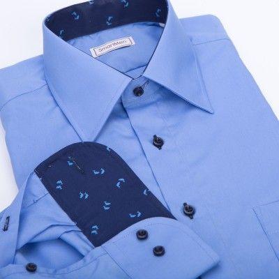 Pánská košile modrý oceán s delfíny
