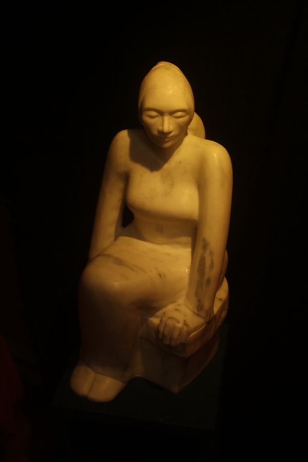 Vermont marble Sculptures of females by artist Marie-Jos�e Leroux titled: 'The Priestess (Carved Sitting Stylised woman Pondering Thinking statue)'