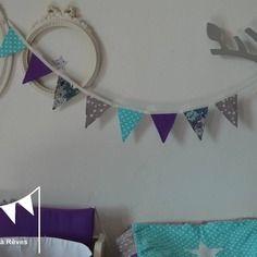 Dispo - banderole guirlande fanions tissus étoiles gris turquoise violet blanc liberty mauvey