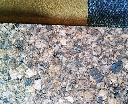 Cork, Leather, Fabric.