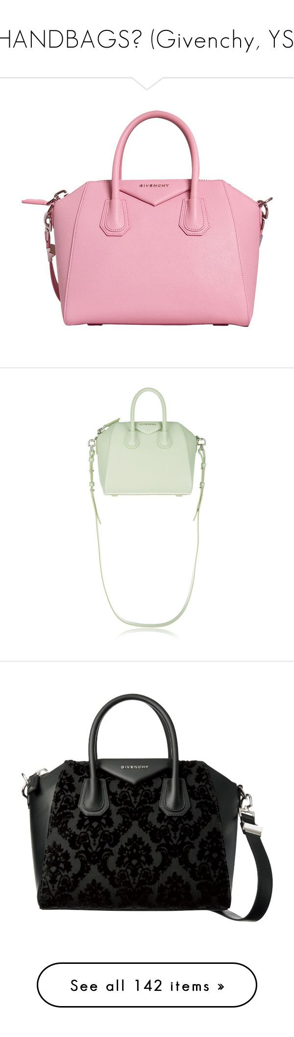 """✮HANDBAGS✮ (Givenchy, YSL)"" by marcellamic ❤ liked on Polyvore featuring bags, handbags, purses, handbag purse, leather man bags, pink hand bags, hand bags, pink purse, mini duffle bag and white patent leather handbag"