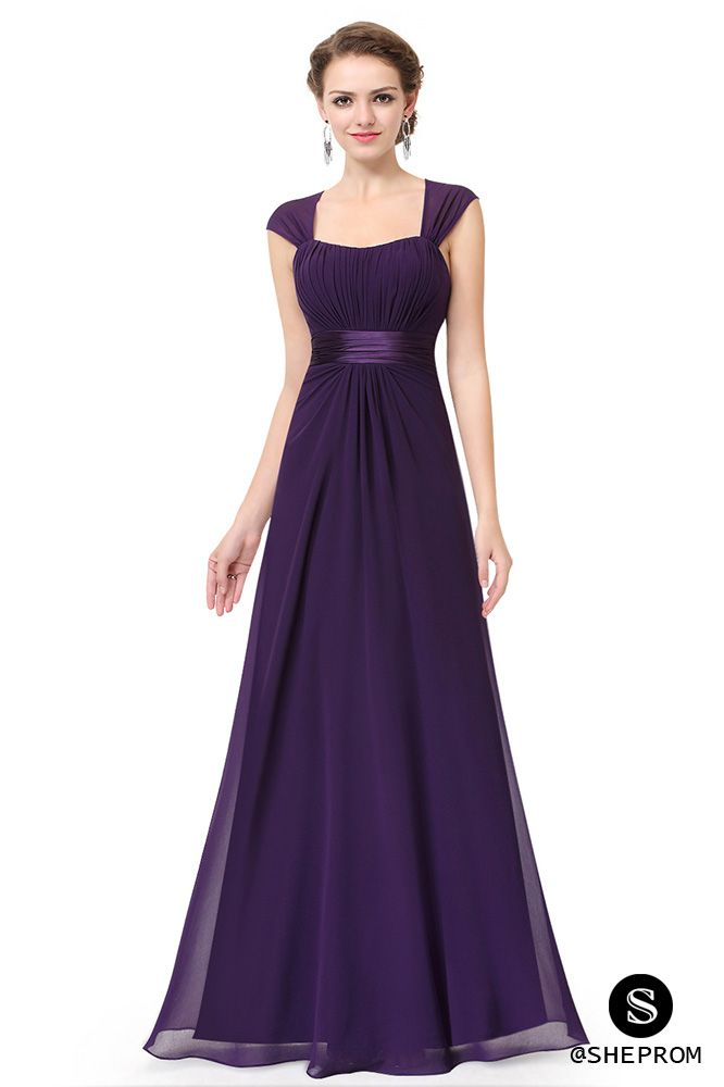 Only 56 Dark Purple Chiffon Square Neck Long Bridesmaid Dress