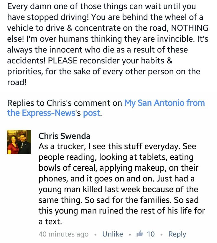 Please think about your actions! Enough is enough! #driving #safety #texting #roadsafety #texas #texan #phone  http://m.mysanantonio.com/news/local/article/Witness-driver-who-hit-church-bus-was-texting-11041354.php?ipid=brkbar&cmpid=email-mobile