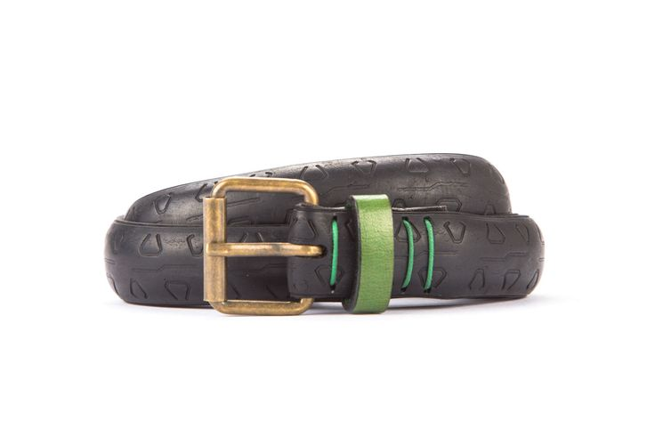 #2685 - Black belt from a spare race bicycle tyre, entirely handcrafted, iron branded and numbered. Green, leather belt loop. Strap folded up and stitched up with cotton colored strings.