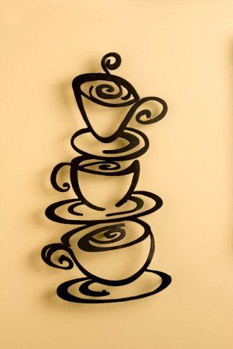 Laser Cut Metal Coffee Art Plaque Wall Hanging - i can paint that! love the design for the kitchen