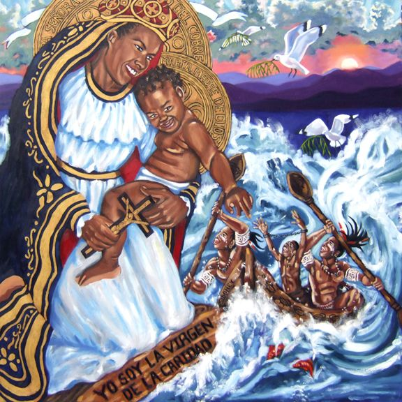 "Cachita-Ochun: La Virgen de La Caridad del Cobre, Oil on Canvas, 48""x48"" © 2007 by Lili Bernard. Nicknamed ""Cachita,"" La Virgen de la Caridad del Cobre is Cuba's Patron Saint. In the Santeria faith (a synchronistic religion practiced in Cuba and elsewhere, which arose from a mixture of Catholicism and the Yoruba religion known as Ifá, brought to Cuba by the slaves) Cachita is also referred to as the Orisha ""Ochun."""