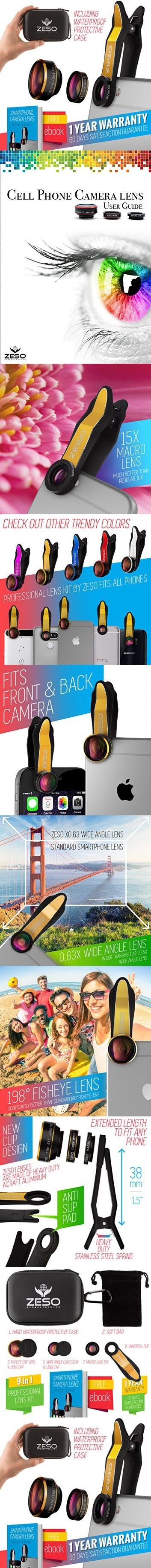 Cell phone camera lens 3 in 1 kit by zeso professional fisheye macro