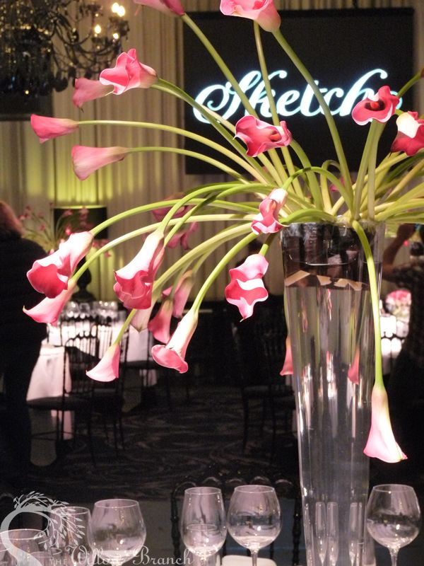 Sketch reception - calla lilly arrangements in tall and short intervals  www.thewillowbranch.com.au