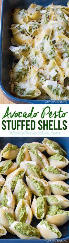 Zesty Avocado Pesto Stuffed Shells Recipe | http://ASpicyPerspective.com