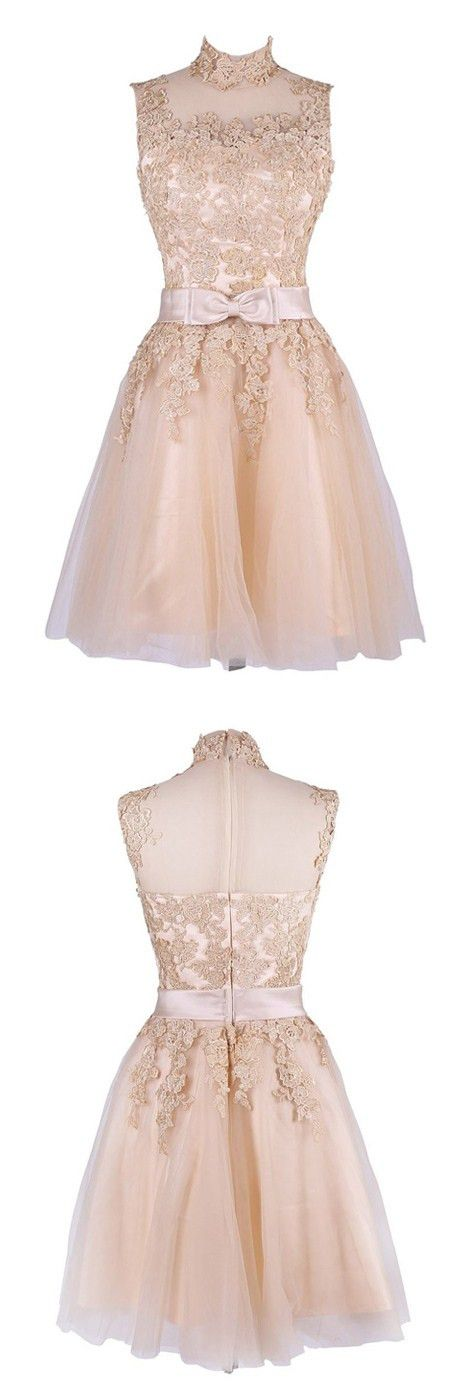 2016 homecoming dress,lace homecoming dress,short prom dress,elegant homecoming dress,modest homecoming dress,champagne homecoming dress,lace prom dress,cute prom dress,party dress,exquisite party dress