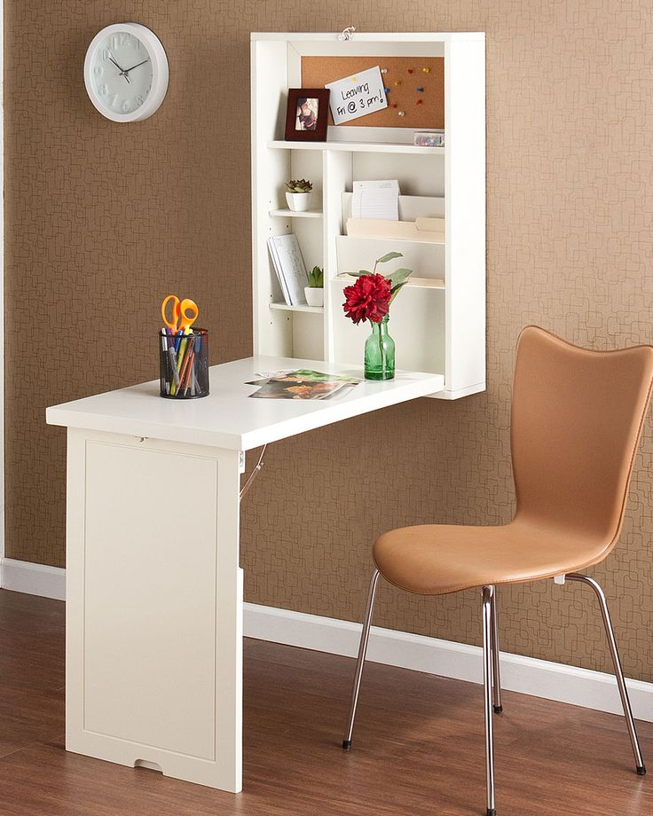 fold out desk. Guest room idea. Since we have such little space, this would be ideal!