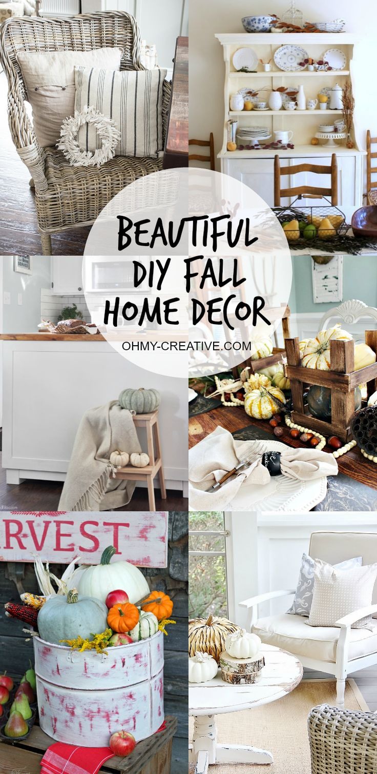 These Beautiful Do It Yourself Fall Home Decor ideas will help inspire you to make simple changes throughout your home. Every nook is a place to add decor! OHMY-CREATIVE.COM