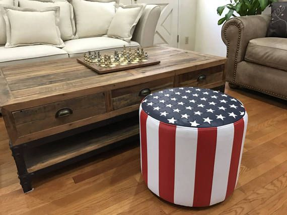 Delightful Nice Design American Flag Leather Vinyl Bench Ottoman Creative Stool High  Quality Furniture Fashion Custom Made