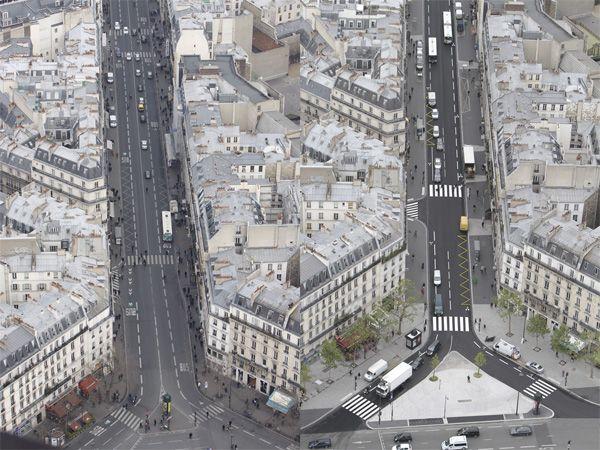 Vue aérienne de la rue de Rennes avant / après