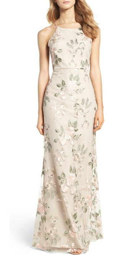 claire floral embroidered gown by Jenny Yoo. Textured with romantic floral embroidery, this refined column gown shows off your shoulders and back with its slender...