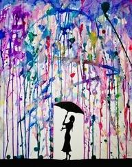 In de regen. Plak tape op de plaats waar geen inkt mag komen. Blaas met een ritje inktdruppels uit tot straaltjes. Silouette met paraplu in het zwart eronder.