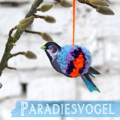 Creative: Eleven Adorable Craft Projects  Use Google Translate and make a Pompom bird via www.johannarundel.de