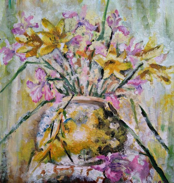 Sunny bouquet Yellow and violet flowers by PaintingByAHeart
