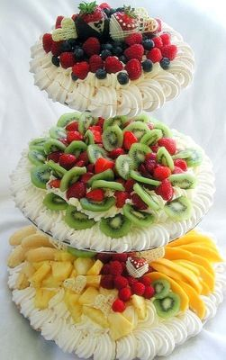 What a great idea!   Tiered server filled with fruit,. whipped cream for dipping piped around the edges... great for the holidays!