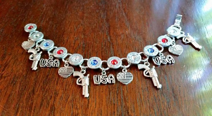 It's time to chosen 357 Mag Aluminum Charm Bracelet Red/White/Blue Pistol,USA and heart flag