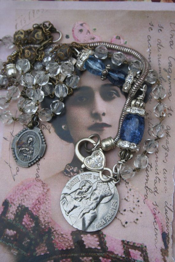 Assemblage necklace St. Anne Religious reliquary by IRISHTREASURE