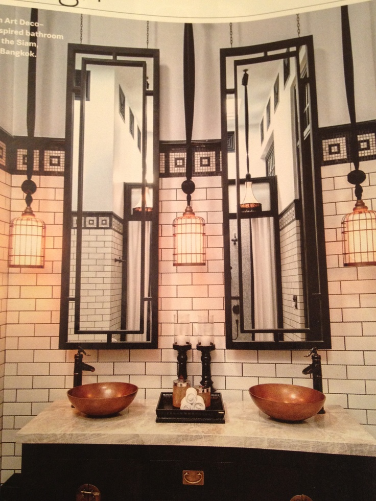 Art Deco Bathroom In Basement Off Office, Lots Of Reflective Surfaces To  Add Light Where