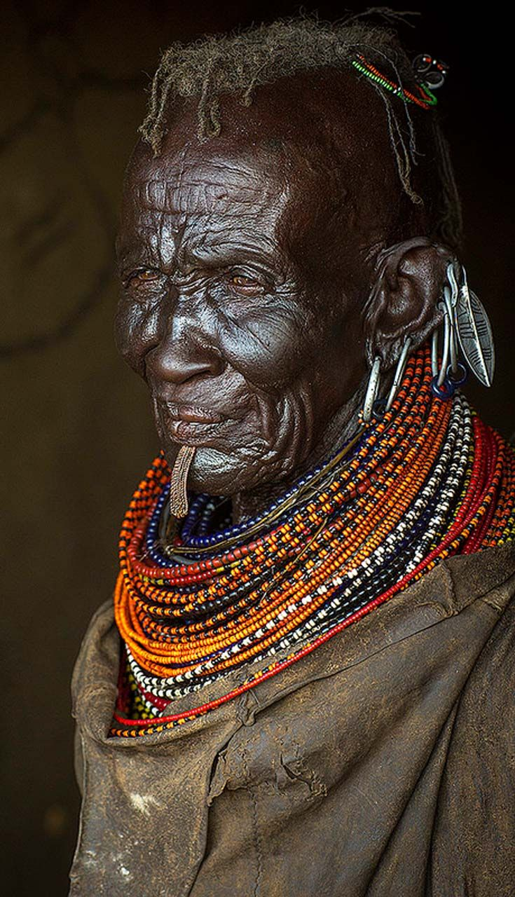 Africa | Elderly Turkana woman. Turkana Lake, Loiyangalani, Kenya. | ©Eric Lafforgue