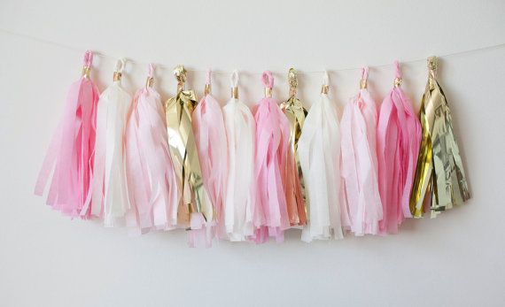 Blush Gold Tassel Garland (15), Pink Gold Ivory Garland, Princess Birthday Theme, Ballerina Party Theme, Baby Girl Shower Banner, Bunting