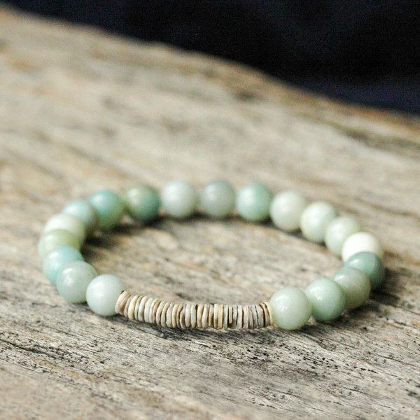 Blue Shell Stacking Bracelet Amazonite Grey Shell Beaded Bracelet... ($87) ❤ liked on Polyvore featuring jewelry and bracelets