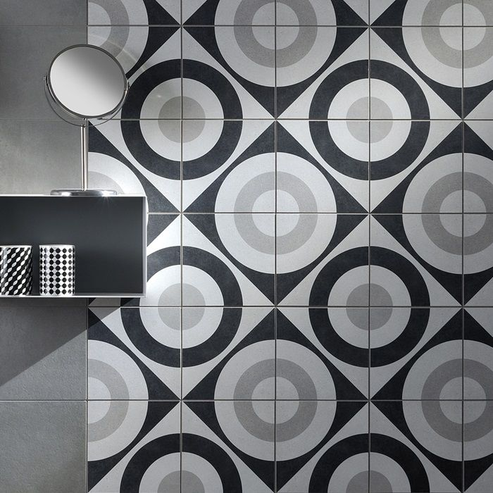 Cementine Black And White Porcelain Deco Tile Wall