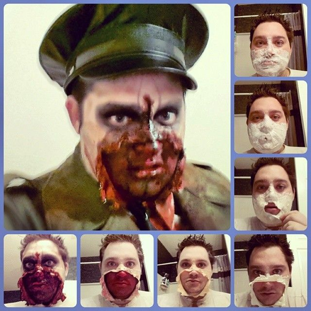 Zombie step by step face fx prop day halloween German army tissue paper and latex  petersonlindo's photo on Instagram