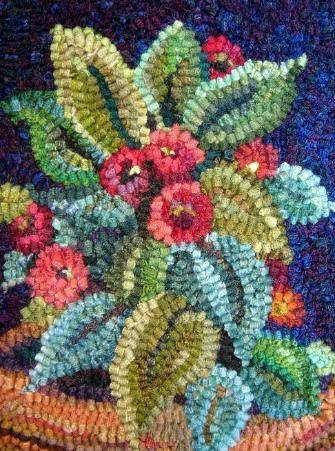 potted flower rug hooked by Karen Poetzinger