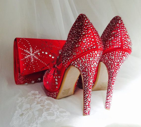 Bridal red Wedding Shoes  snowflakes shoes frozen by norakaren