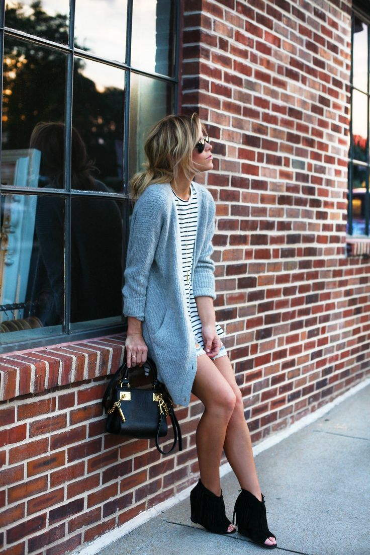 justthedesign: Mary Seng is wearing a grey cardigan from Free People, striped T-shirt and shorts from Necessary Clothing, shoes from Ash and the bag is from Sophie Hulme