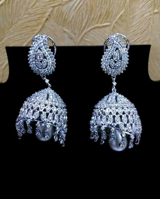 #Designer #Platinum #earings. Meticulously crafted designer Platinum earings (jhumki's) by  S.S. Platinum
