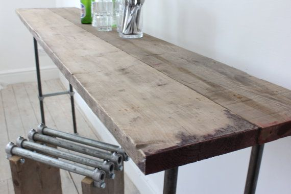 Reclaimed Scaffolding Boards and Graphite Steel Pipe Bar or Console Table - Bespoke Industrial Furniture Design by www.inspiritdeco.com