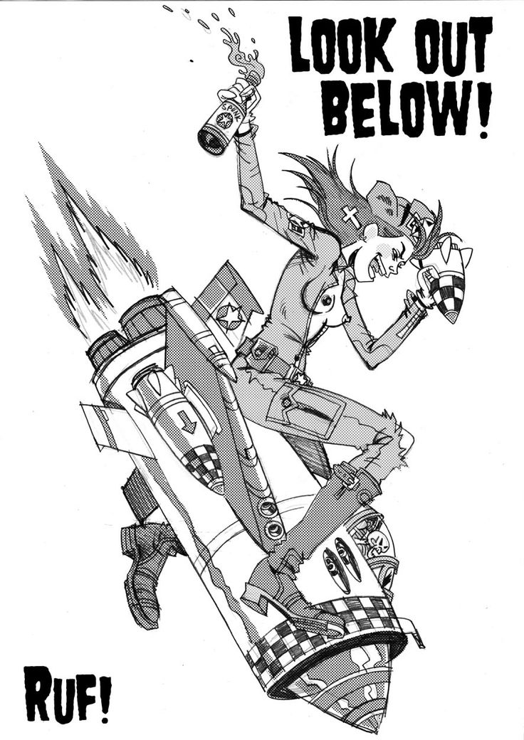 JET GIRL - LOOK OUT BELOW!  Here's the rough art for a Jet girl Tattoo design commission I'm finishing off.  I'll be doing a matching Tank Girl one to go with it!  I've added some digital half tone for fun.  I'm also getting ready for THOUGHT BUBBLE FESTIVAL, and I'm hoping to offer some exclusive stuff there…more info soon!  The new Prints are now up on site too!  XXX   Love'n'tanks, Rufus