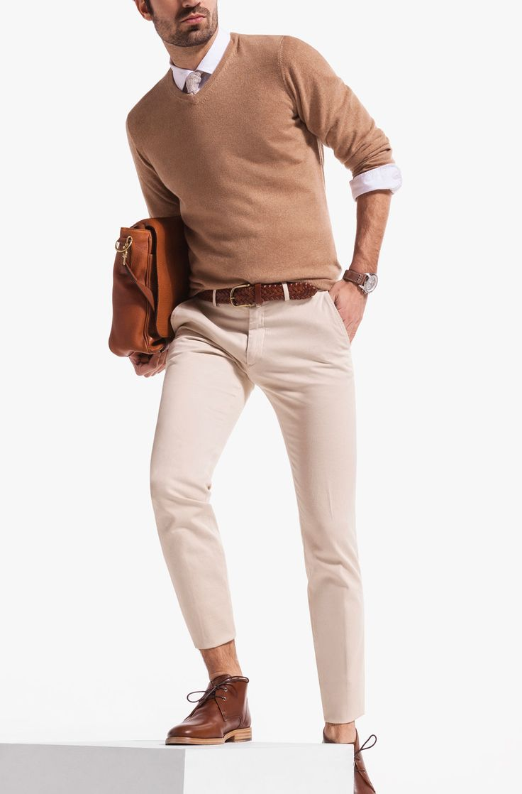 Casual Massimo Dutti Camel 100% CASHMERE V-NECK SWEATER £125 (0995388)