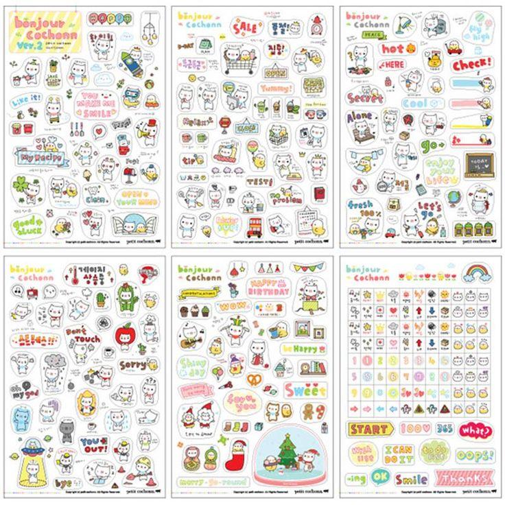 Lindo 6 hoja de cerdo pegatinas de papel para Scrapbook calendario decoración de la piel en Pegatinas de Juguetes y Aficiones en AliExpress.com | Alibaba Group