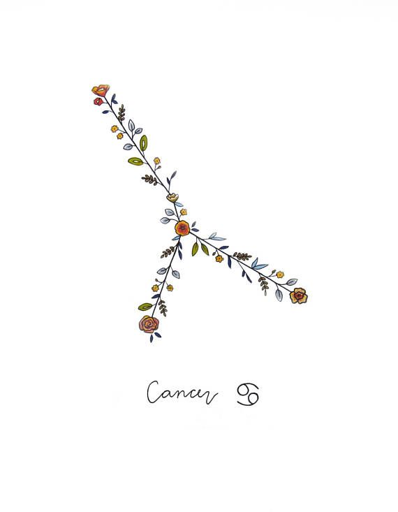 Zodiaque CANCER Constellation Floral Print Cancer signes du
