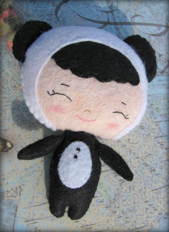 Cute panda dressed Binky Boo felt doll - hand stitched felt panda doll.