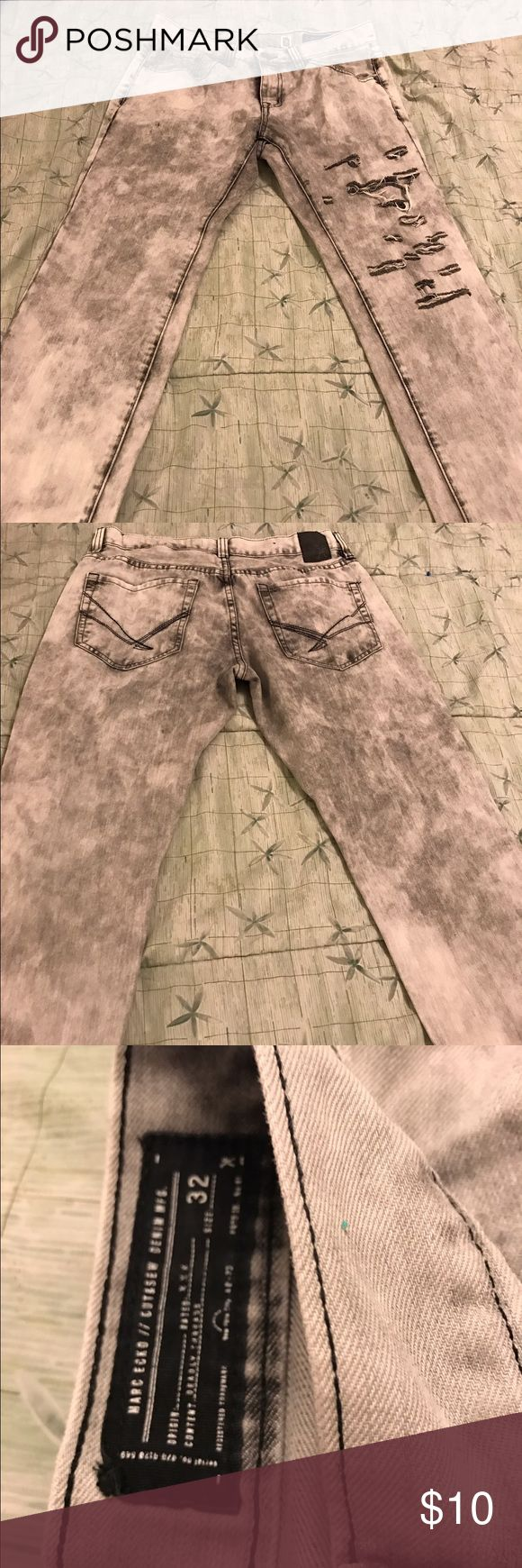 Men's Mark Ecko grey acid washed jeans Size 32. My son wanted to rip/distress them. They came acid washed but he wanted the ripped look. He did one leg and then decided he didn't like the fit! Lol. I didn't mess with the other leg. Make an offer marc ecko cut & sew Jeans Straight