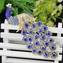 Павлин с пышным хвостом роскошная модная женская брошь из цветных кристаллов горного хрусталя. Женские украшения и аксессуары(China (Mainland))