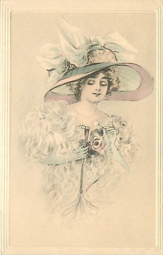 ARTIST SIGNED-BEAUTIFUL WOMAN-LARGE HAT-GLOVES-H71647