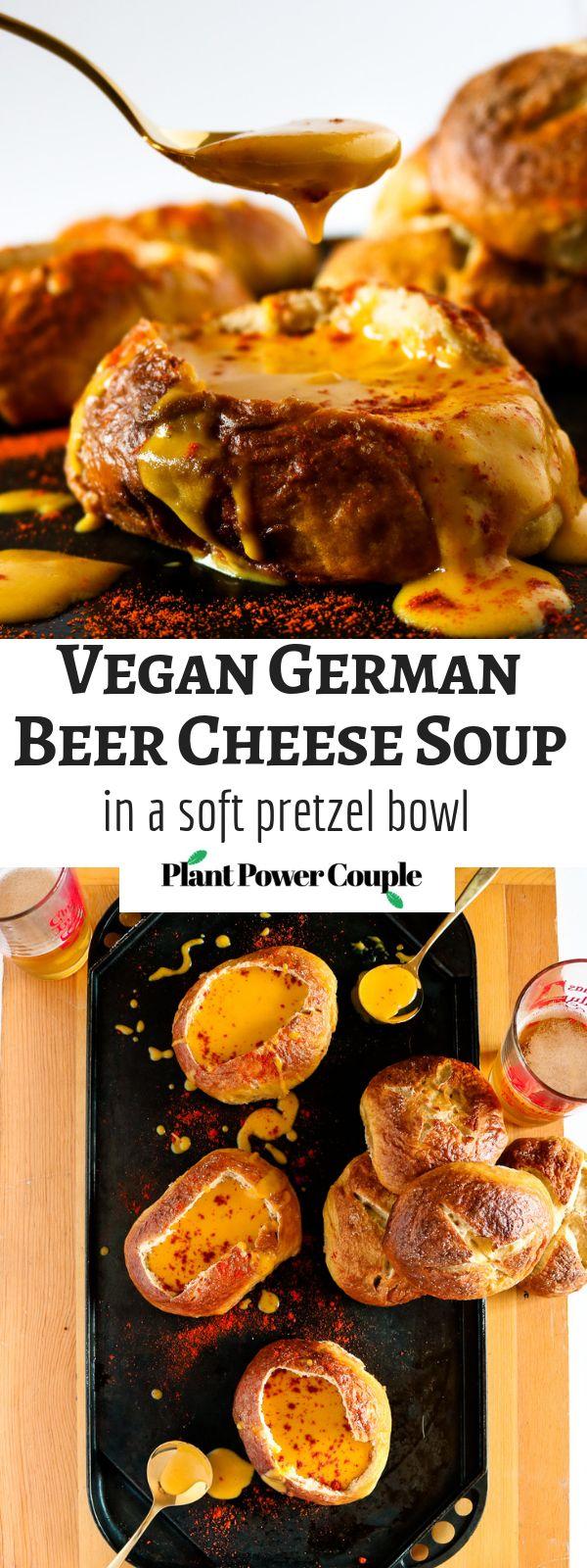 Vegan German Beer Cheese Soup in a Soft Pretzel Bowl
