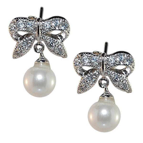Sterling Silver Earrings with Freshwater Pearls and Cubic Zirconia #earrings #bow #pearls
