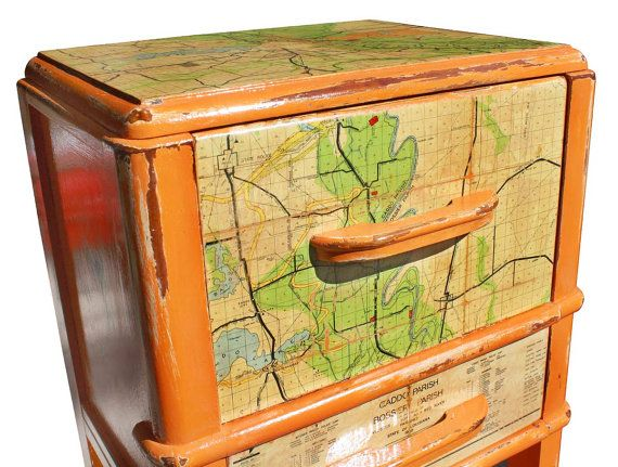upcycled sewing table | Reserved Repurposed Upcycled Distressed Orange Nightstand Night Stand ...