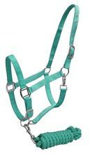 TEAL  Horse Size Adjustable Nylon Halter with Matching Cotton Lead Rope