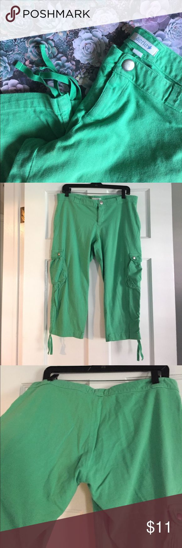 Aerie ☁️ Lounge Pants Aerie cargo lounge capris in bright kelly green. Excellent condition! Waist measures 17 1/2. Size small but definitely runs larger. I would say these fit like extra large. Snap button closure with zipper. 2 side cargo pockets, 2 hand pockets. aerie Pants Capris