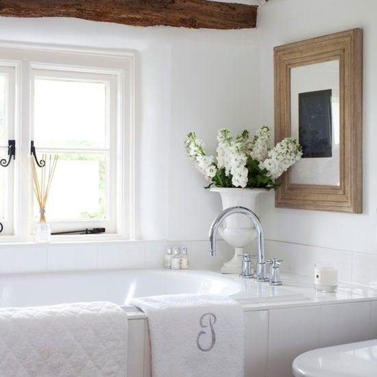 White country bathroom - love the texture of the wood with everything else being so simple. Might work in ours?